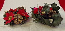 "Christmas Candle 1 1/4"" Ring Holder Wreath Evergreen Pine Holly Balls"