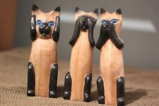 3 WISE CATS NOT MONKEYS WOOD CARVINGS SEE HEAR SPEAK NO EVIL HAND CARVED .16cm