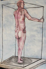 Tattoo Nude - Life Model watercolour Painting - Large Wall Art - Naked Male