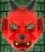 Red Devil Demon Rubber Face Mask- Scary Halloween Costume Accessory