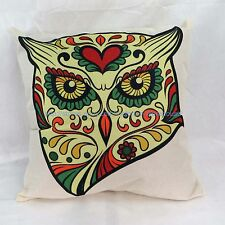 pillow sugar skull owl cotton linen cushion cover hippie boho green yellow red