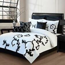 BEAUTIFUL CHIC BLACK WHITE GREY FLORAL MODERN COMFORTER SET 8PC CAL , KING QUEEN