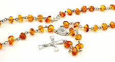 Beautiful Sterling silver Catholic ROSARY with genuine cognac AMBER stones