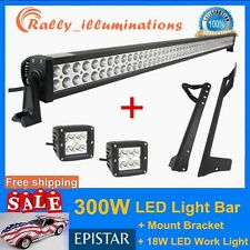 52Inch 300W+2X18W LED Light Bar+Windshield Mounting Bracket For Jeep Wrangler JK