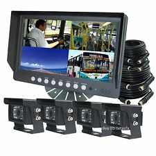 "9"" DIGITAL QUAD SPLIT MONITOR REAR VIEW BACK UP CAMERA SYSTEM FOR BUS TRUCK RV"