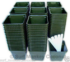 150 Flower Pots & Plant Labels! BEST Size for Nursery Seed Starts Square Plastic