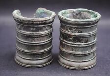 TWO ANCIENT ROMAN BRONZE MILITARY INK WELLS