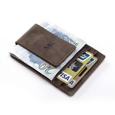 Men Women Crazy Horse Leather Money Clip Wallet Card Cash Holder ID Pocket Brown