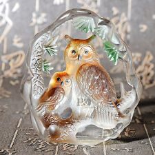 Crystal Animal Owl Figurines Glass Paperweight Collectibles Decorative Ornaments