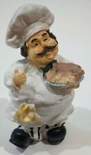 "New Fat Chef Italian Figurine French Holding Serving Food Fish Polyresin 6"" Rare"