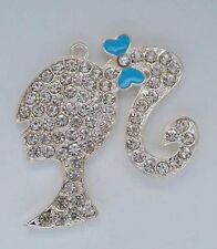 49mm rhinestone blue barbie Pendant for Chunky Bubblegum Bead Necklace