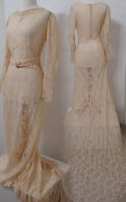 VINTAGE 40's Cream Lace Wedding Gown Bias Cut Cold Shoulder w/ Long Train S