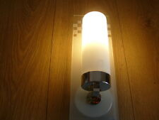 Designer Chrome and Frosted Glass bathroom wall light IP44 Rated