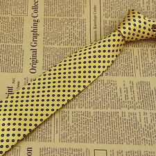 Yellow Navy Polka Dot Men's Tie 100% Silk Jacquard Woven Classic Wedding Necktie