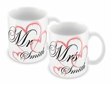 PERSONALISED MR & MRS MUG SET ANY NAME - IDEAL GIFT FOR WEDDING ANNIVERSARY