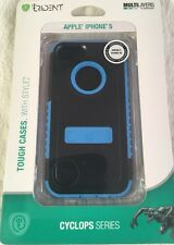 New iPhone 5 5S TRIDENT CYCLOPS Case Cover W/Screen Protector Black & Blue