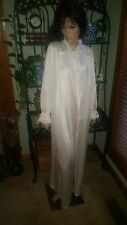 Vtg Lorraine Silky Shimmery Pink Long Nylon Button Front Robe or Nightgown Sz L