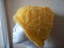 Hand knitted elegant lace pattern beanie/hat, yellow
