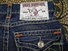 True Religion mens BILLY SUPER T multi-stitch slim boot straight ACTUAL 34X33