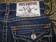 True Religion mens BILLY SUPER T multi-stitch slim boot straight ACTUAL 34X33