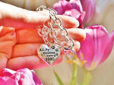Sterling Silver Plt Charm BRACELET My Children Have PAWS Pet Dog Cat Lover Paw