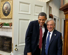 PRESIDENT BARACK OBAMA GREETS ELI WIESEL IN THE OVAL OFFICE 8X10 PHOTO