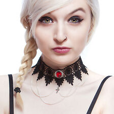 Steampunk gothic choker necklace ruby red cross lace victorian goth LUCRETIA