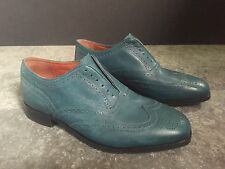 DUCKIE BROWN FLORSHEIM BLUE LEATHER MENS DESIGNER WINGTIP LACELESS SHOES SZ.9
