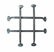 HAND FORGED FRONT DOOR GRILL WROUGHT IRON RUSTIC BLACKSMITH METAL GATE BAR DECOR