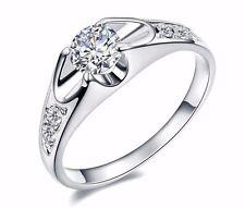 D/VVS1 Engagement Ring 1 Carat Round Cut 14kGP White Gold Bridal Jewelry