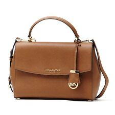 Brand New Michael Kors Ava Brown Luggage Medium Leather Satchel 30T5GAVS3L