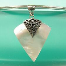 """1 3/4"""" Natural White Mother of Pearl Shell Handmade Pendant 925 Sterling Silver"""