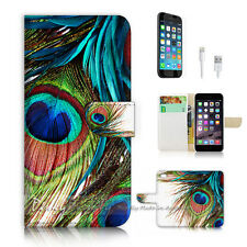 iPhone 6 6S (4.7') Flip Wallet Case Cover P2314 Peacock Feather