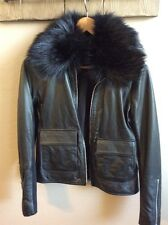 TROUVE Leather Jacket With Removable Faux Fur Collar  (XS)
