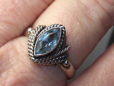 STERLING SILVER 925 ESTATE CABLE WRAPPED MARQUISE BLUE TOPAZ RING SIZE 8