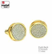 Men's 14k Gold Plated Flat Round Glitter Stud Earring SC 208 G