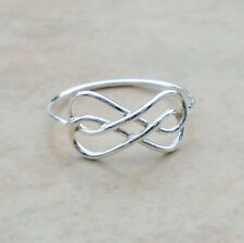 925 Sterling Silver Infinity Knot Eternity Ring Size 8 Band Unisex Hall Unbr New