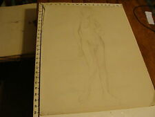 """1930 SIGNED-- E. Ganson Drawing 19 x 25"""": NUDE FEMALE, sketch front w proportion"""