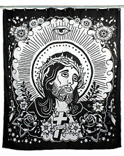 TOO FAST JESUS BATHROOM GOTHIC PUNK SPIRITUAL TATTOO SHOWER CULT CURTAIN BATH