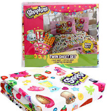 SHOPKINS Strawberry Cupcake Apple Donut Girl 3pc Twin Sheet Set Juego de Sabanas