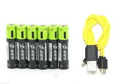 6pcs 1.5V AAA 400mAh li-po rechargeable lithium batteries + USB charging line