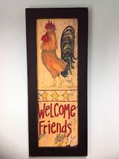 Welcome Friends sign Primitive Rooster art wall decor Hand Crafted Kitchen Decor