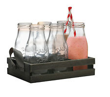 Circleware Country Retro Style Small School Milk Bottle Set Glasses Party Gift