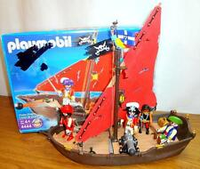 Playmobil Pirates LOT 4444 Pirate Dinghy 4 Figures Cannon Treasure Parrot Box