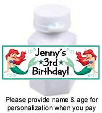 30 Little Mermaid Ariel Birthday Party Baby Shower Mini Bubble Bottle Stickers