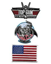 TOP GUN USN US Navy TOMCAT USA FLAG Sew On Iron On NOVELTY PATCH SET 3 Pcs New