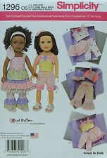 "Simplicity 1296 Sewing PATTERN for 18"" American Girl DOLL CLOTHES Summer Wear"