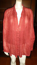 vintage 100% Linen EILEEN FISHER LS TUNIC TOP Flax Bouse Shirt XL Italian Fabric