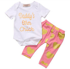 0-3 Months 2pcs Newborn Toddler Baby Girls Romper Tops+Pants Outfits Clothes Set