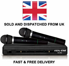 Vocal-Star VS-VFM Dual 2 VHF Wireless Cordless Microphones For Karaoke DJ PA